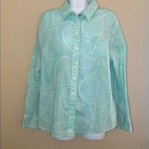 Boden leaf print button up top